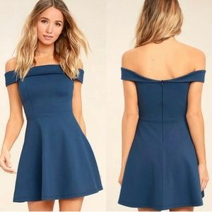 Lulu's Season of Fun Blue Off-The-Shoulder Dress